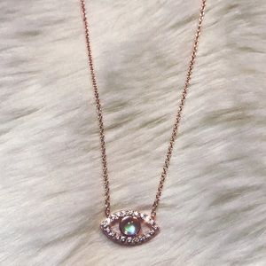Jewelry - 🆕 Rose gold evil eye rhinestone necklace